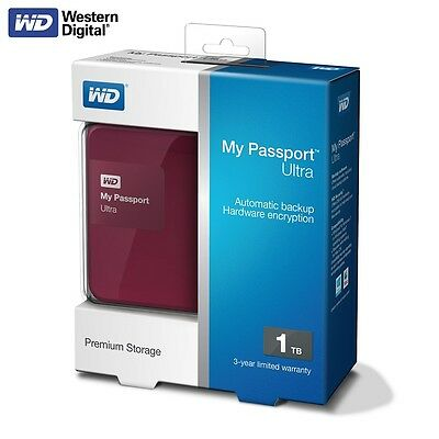 WD My Passport Ultra 2015 1TB Portable External Hard Drive USB 3.0 HDD Berry TS