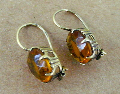 Old Russian Sterling Silver EARRINGS, Gold Plated, Yellow Stones, Russia USSR