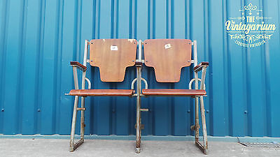 Pair of Cinema Barber Shop Waiting Room Flip Up Seating Chair Bench