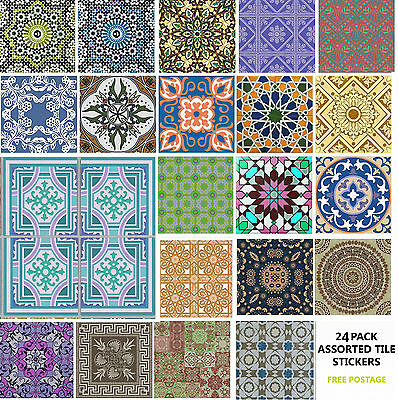 "4"" or 6"" 24 Pack Moroccan Tile Sticker Decal Kitchen Bathroom Self Adhesive TP65"
