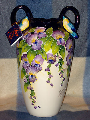 """BNIB JEANETTE McCALL ICING ON THE CAKE WISTERIA VASE WITH TAGS & BIRDS 13"""" TALL"""