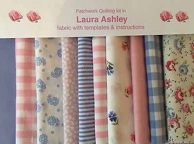 LAURA ASHLEY PINKS & BLUE FABRIC 80 piece PATCHWORK QUILTING KIT + iNSTRUCTIONS