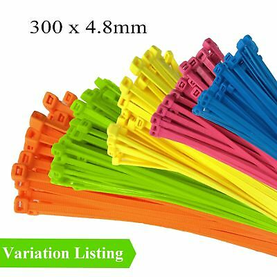 100 x Fluorescent Coloured Nylon Cable Ties 300 x 4.8mm / Extra Strong Zip Tie
