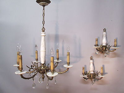 Vintage Antique Italian Marble Chandelier w/ Matching Wall Sconces Crystal Prism