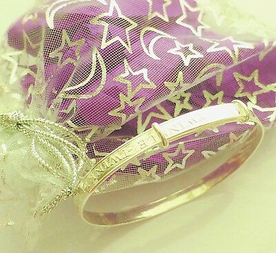 Sparkle stars baby bangle sterling silver girls or boy Birthday Christening gift