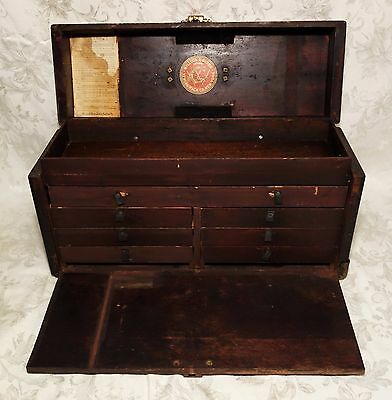 Antique 19th Century Oak Sewing Machine Toolbox 7 Drawer Machinist's Tool Box
