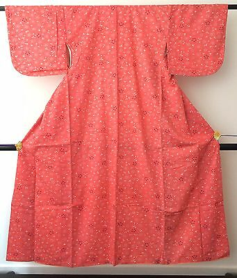 Vintage authentic handmade Japanese polyester kimono for women, pink (J542)