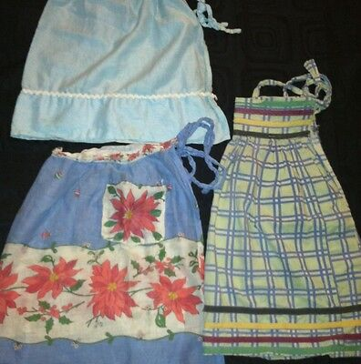 Lot Of 3 VERY OLD/VINTAGE Multi-Colored Aprons *RARE FIND* Solid-Floral-Plaid
