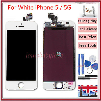 For iPhone 5 LCD Display Digitiser Touch Screen Assembly White Replacement Lens