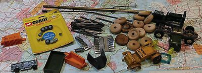 Vintage Toy Cars Wheels Corgi Wood Rubber Pins Restoration Parts Repair Lot
