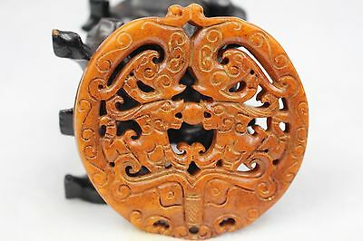 Fantastic Chinese fine old jade hand carved  - Dragon phoenix play bead