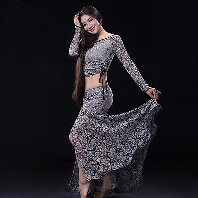 New Sexy Women 2016 Lace Belly Dance Costumes 2pics Top & Long Skirt M L