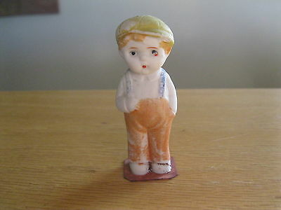 """Japan bisque doll boy in yellow coveralls  cool little piece 3"""" tall"""