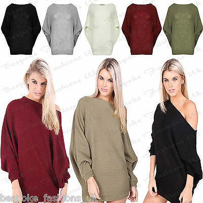 f69ec80f0495 Ladies Womens On Off Shoulder Batwing Baggy Oversized Long Sleeve Knit Dress  Top
