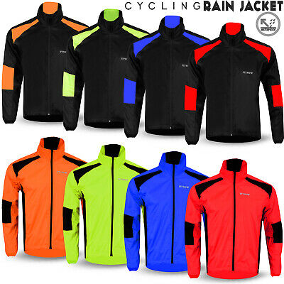 Mens Cycling Jacket High Visibility Waterproof Running Top Rain Coat M to 2XL