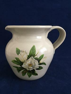 """1 6"""" Casey Pottery Pitcher Hand Made in USA, MW and DW Safe Magnolia Bloom"""