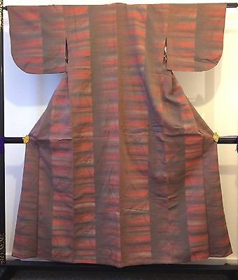 Vintage authentic Japanese pink & grey wool kimono for women, good cond. (J546)