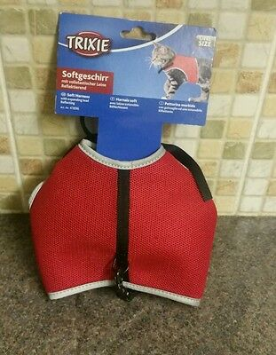 Trixie Cat Harness And Lead Soft Vest Jacket Harness Red