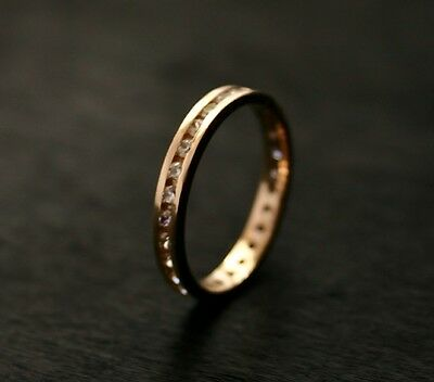 585 Russian Rose 14k Gold  Eternity Beauty Ring Size T- 19.5 Gift boxed