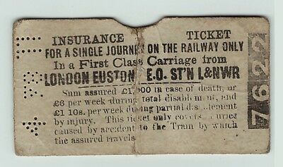 RARE 1878 1st Class Insurance Ticket London North Western Railway Euston L&NW RR