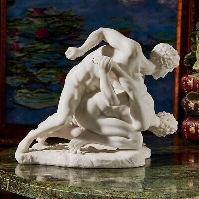Ancient 1st Century BC Two Greek Wrestlers Bonded Marble Handmade Statue