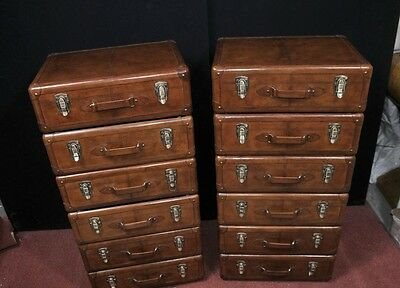 Pair Leather English Campaign Chest Drawers Colonial Tall Boys Luggage