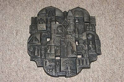 Rare vintage Buderus Germany cast iron wall plaque world religions