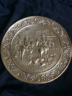 Brass Plate Plaque Hunting Scene 39cm
