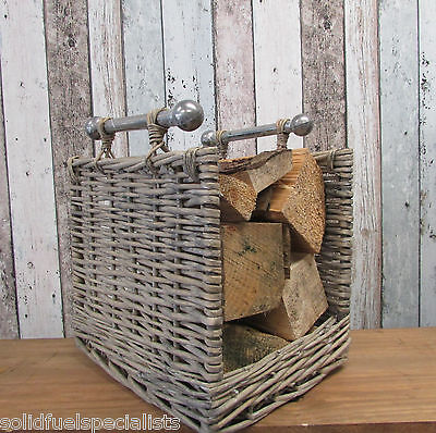 Light Willow Log Basket With Chrome Handles Open Fronted Modern Log Holder