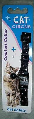 Beautiful black and pink poka dot cat circus safty collar. adjustable. Stylish