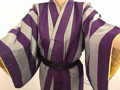 Vintage authentic handmade Japanese silk kimono for women, grey & purple (J547)