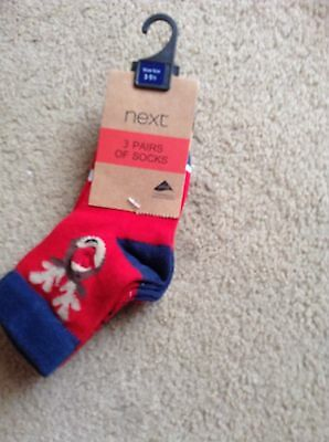 Next 3 pairs of Christmas socks, shoe size 3-5.5