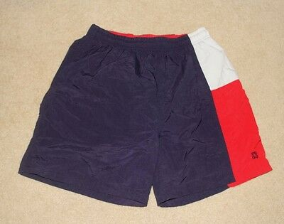 VTG Givenchy Mens Red,Blue & White Baggies Swimwear Lined Board Shorts Sz M