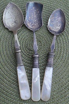 Antique Old English Mother Of Pearl Handled Spoons Various Styles.stunning Relic