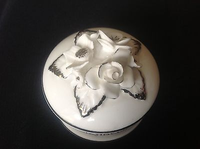 Vintage Staffordshire Bone China Trinket Box Queen Elizabeth II England Silver