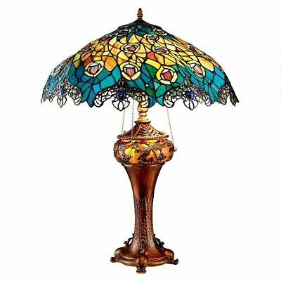 "Art Nouveau Peacock Tiffany Style Stained Glass 27.5"" Floor Sculptural Lamp"