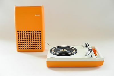 Vintage Serviced 70s Philips 113 Orange Portable Record Player Design Turntable