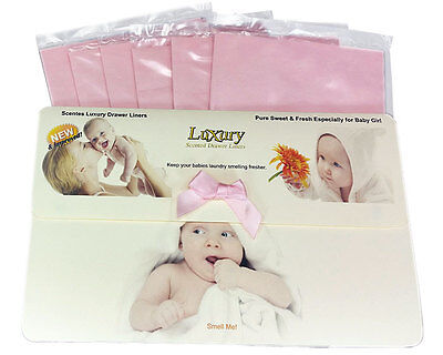 6 Pack of Baby Girls Scented Luxury Drawer Liners Ideal Baby Shower Gift