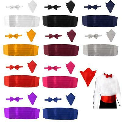 Gentleman Cummerbund Pre-Tied Bow Tie Hanky Set Wedding Prom Tuxedo Formal Suit