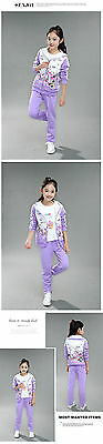 NEW! Girls 2 pcs flower tracksuit clothing set outfit 6-7 years PURPLE (from UK)