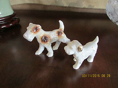 Vintage Japan Standing Porcelain Airedale Terrier Dogs Figurines