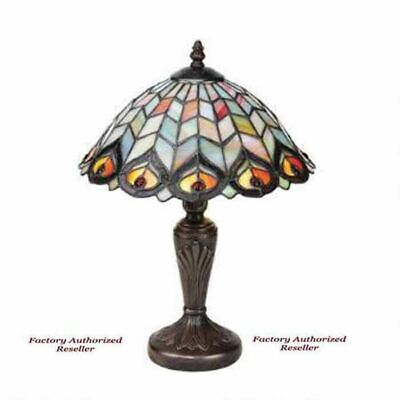 "Antiqued Peacock Feathers Tiffany Style Stained Glass 16"" HandPainted Table Lamp"