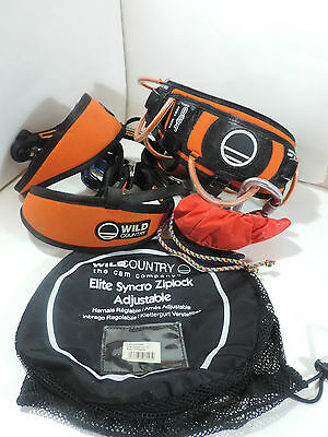 WILD COUNTRY SYNCRO CLIMBING HARNESS -  INC CHALK BAG, BELAY & CARABINER Size R