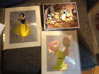 Foil Art-Prints(3)-Snow White and The 7 Dwarfs-1987-Framed(1-Silver)USA-Vintage