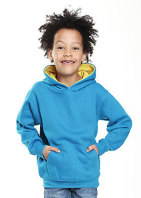 Hoodies Childrens, Kids, Unisex Turquoise/Yellow Contrast Hoodie - Age 5-6 years