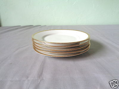 5 U.c. Limoges France Gold Trim & Verge On White China Bread & Butter Plates