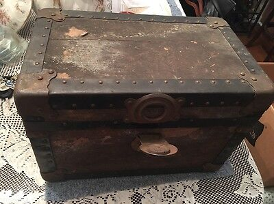"""16"""" Antique Trunk Salesman Sample Toy Doll Steamer Trunk Chest No Tray Original"""