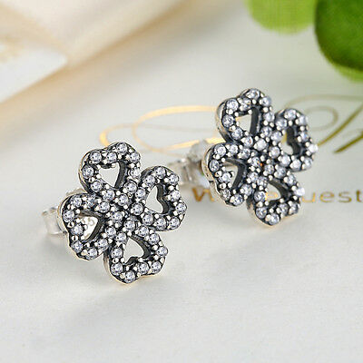 New Authentic .925 Sterling Silver Petals of Love Sparkling CZ Stud Earrings