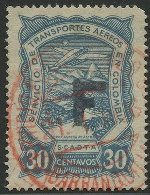 Colombia SCADTA 1923 Used Stamp | Scott #CLF39 | F (France) Overprint
