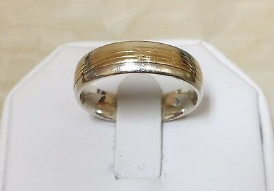 Men's 10k Yellow Gold and Sterling Silver Carved Lines Band Ring Size 10.75, 6MM